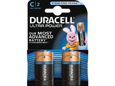 Batteri Duracell ultra power C LR14 2 stk