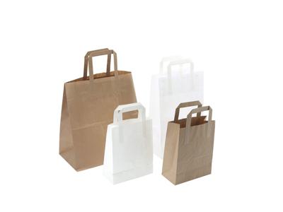 Bærepose papir hvid  350x170x245mm 17 liter med flad hank 20