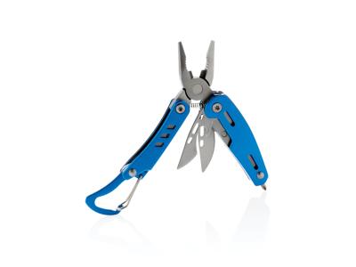 Solid mini-multiværktøj med karabinhage, blå