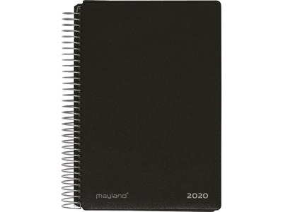 Spiralkalender, 2 dage, hård PP-plast, sort, FSC Mix 2020500