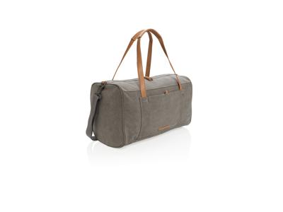Rejse/weekendtaske i PVC fri kanvas, grå
