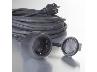 Gummikabel til udendørsbrug 10m sort