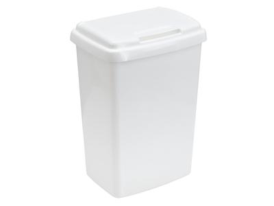 Papirkurv 50 liter hvid plast m/låg