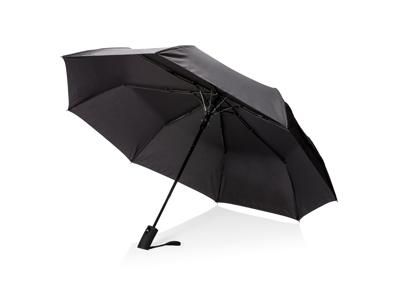 """Deluxe 21"""" foldbar paraply med automatisk åbning, sort"""