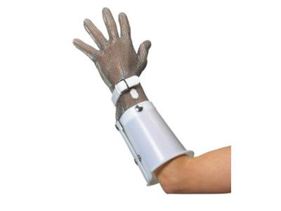 Brynjehandske Hvid venstre m/plast armbe