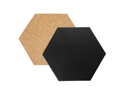 Tavle 20x23x2 cm sort/kork sekskantet