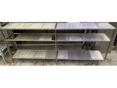 Brugt Bord med 2 hylder 2400 x 400 mm.