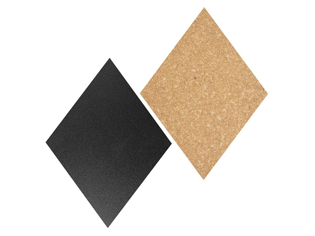 Tavle 33,2x22x2 cm sort/kork diamantform