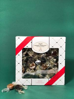 Hvid Jul med julebånd - 360g karamelblanding