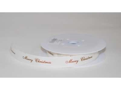 Silkebånd creme m.kobber Merry Christmas.