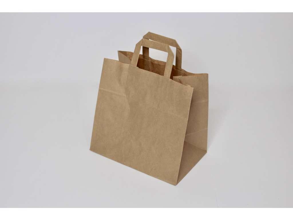 Bærepose Take-Away brun. 26x17x25cm.70g