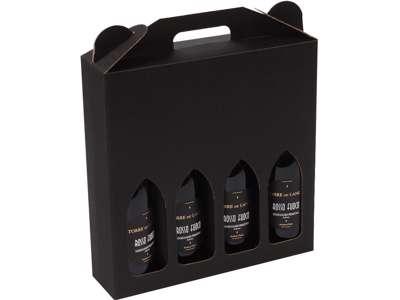 Vinkarton til  4 flasker  sort bølge
