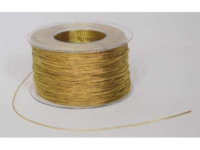 Cording bånd 1mm x200m Guld. Skinnende guldtråd.