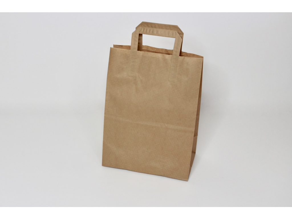 Bærepose brun 16L - 26x15,5x34 cm. 80 gram