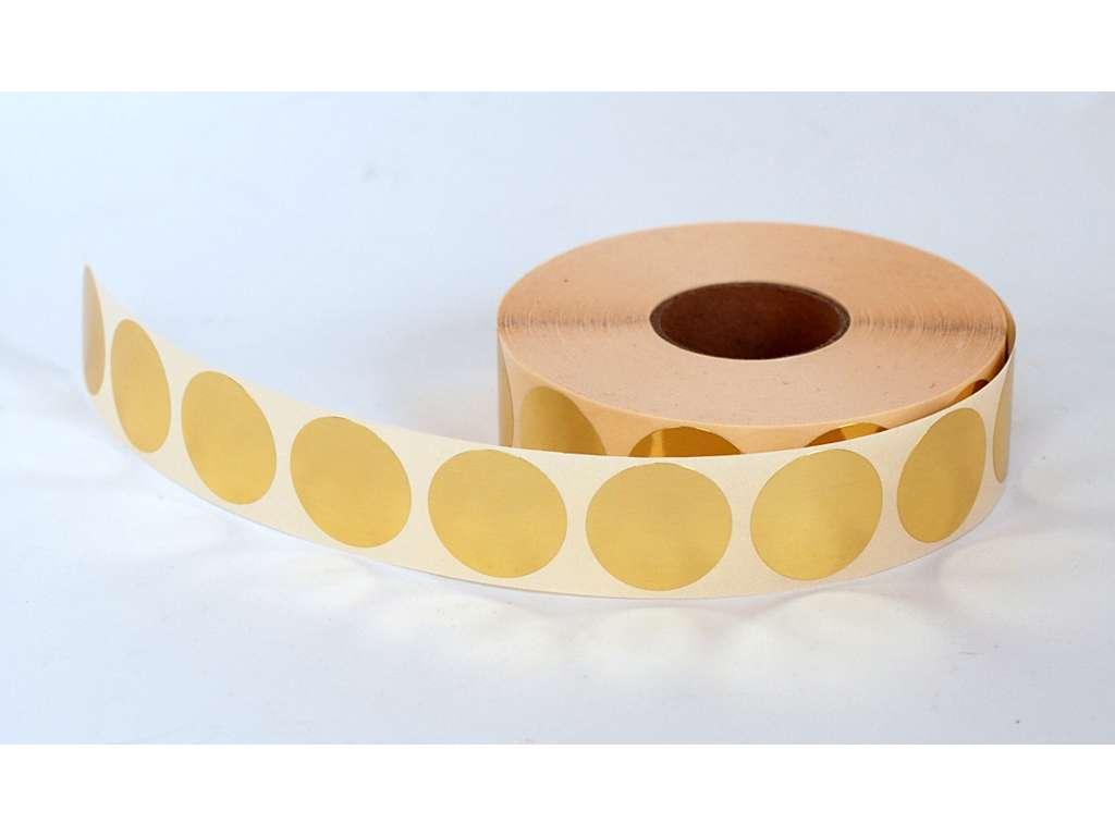 Etiketter Ø30mm metallic guld