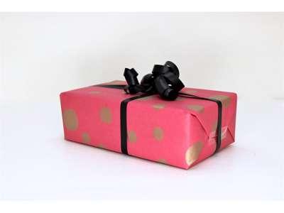 Gavepapir pink m.guld dot 55cm