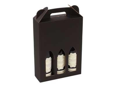 Vinkarton til  3 flasker sort bølge