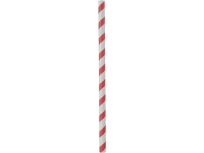 Sugerør Rød/Hvid papir 25cm Ø8