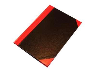 Kinabog A5 linjeret sort/rød