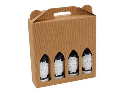 Vinkarton til  4 flasker brun bølge
