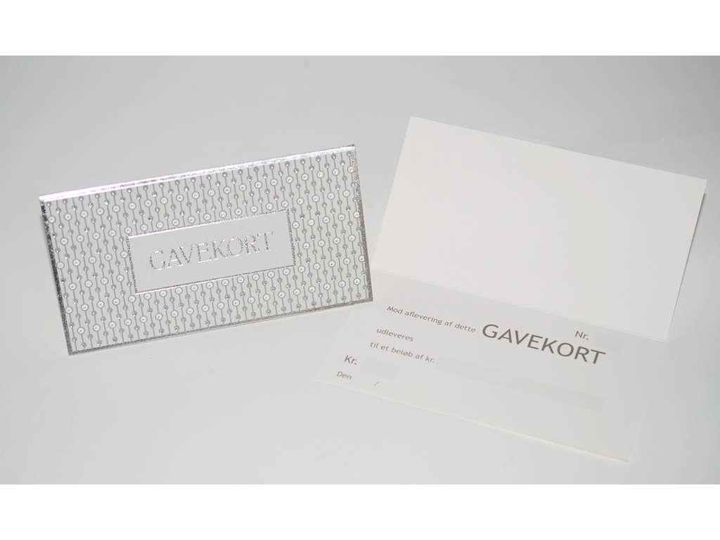 Gavekort m/sølv tryk med konvolut