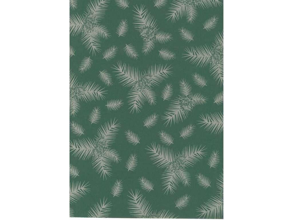 Julepapir sølv kogler/grøn 40cm