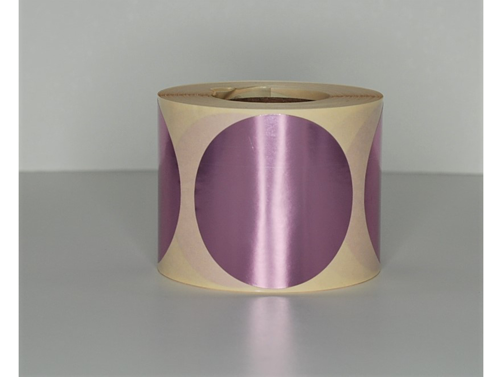 Etiketter Ø63mm Metallic rosa