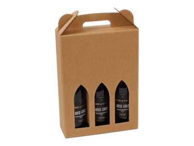 Vinkarton til  3 flasker  brun bølge