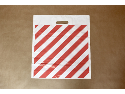 Plastik Bærepose Rød/hvid stribede