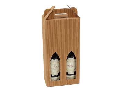 Vinkarton til  2 flasker  brun bølge