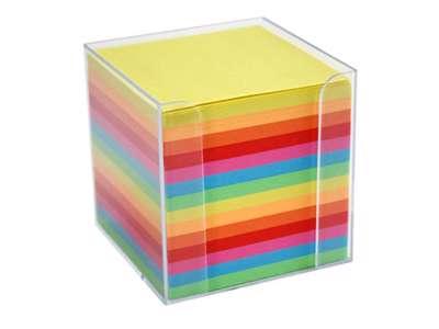 Kubusblok m/holder klar plast m/700 ark ass.farver 95x95 mm