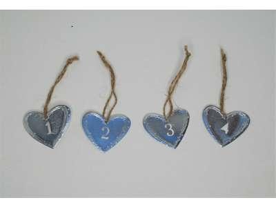 Hængemærker Hjerte 1-2-3-4 sølv