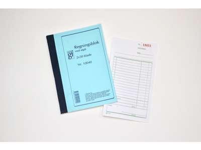 Regningsblok 10040 m. kopi og momsafregning