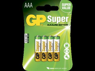 GP Batteri Super Alkaline AAA 24A/LR03 1,5V, 4 stk