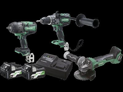 Hikoki Kombipakke 36V, 3 maskiner + 2 batterier + lader