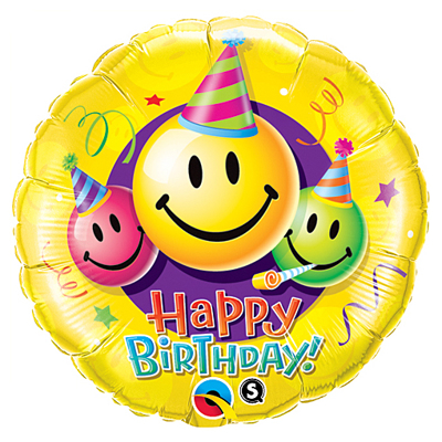 "BIRTHDAY SMILEY FACES 18"""