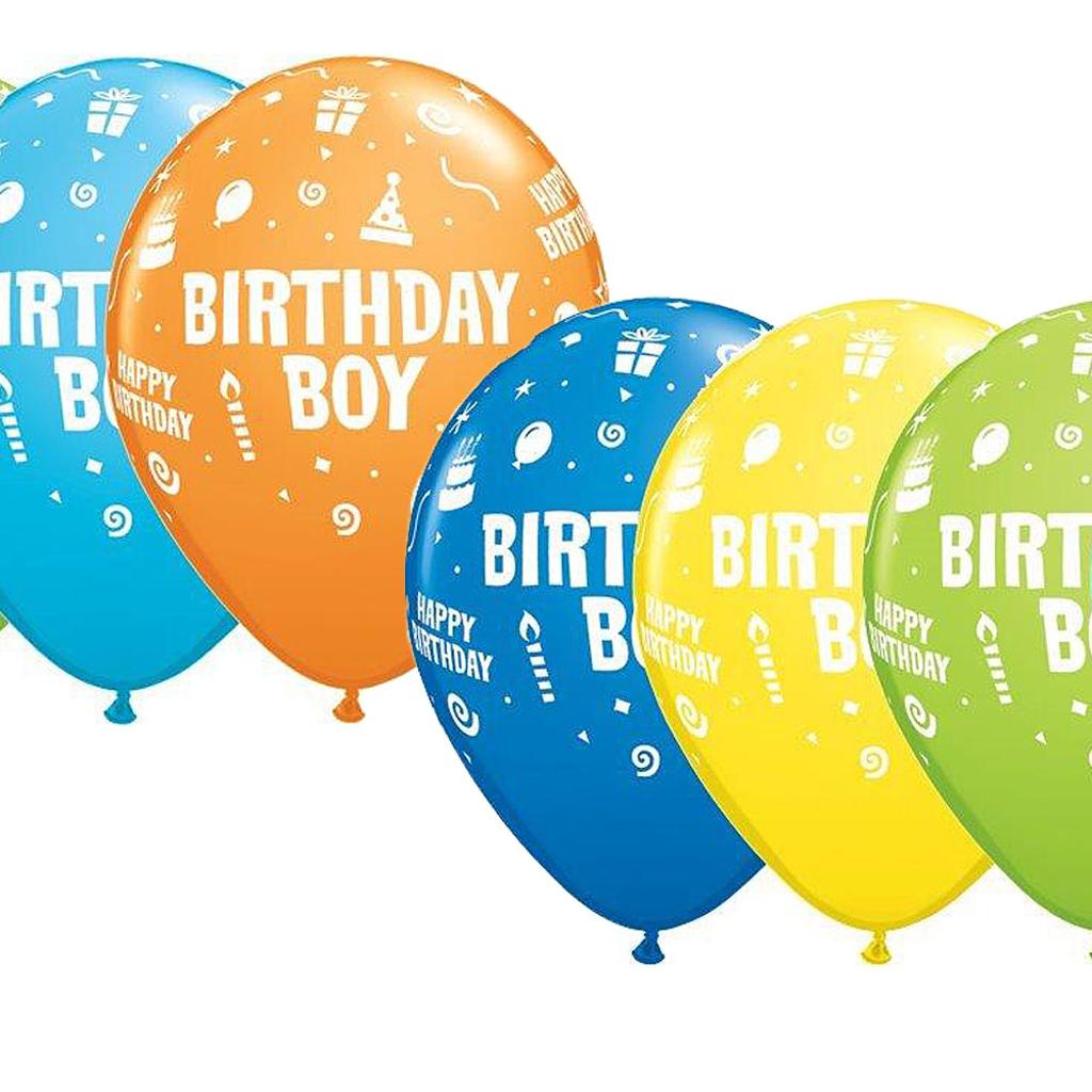 "BIRTHDAY BOY BALLOONS 11"" 25 pcs."
