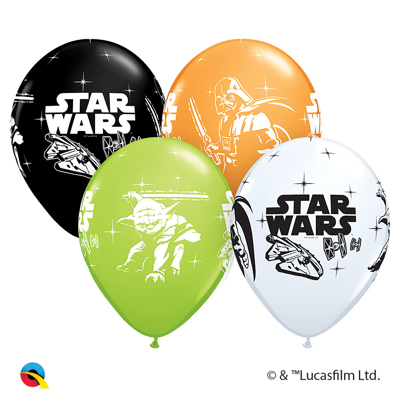 "DARTH VADER & YODA BALLOON 11"" - 25 pcs."