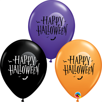 HALLOWEEN MOON & BATS BALLOONS - 25 pcs.