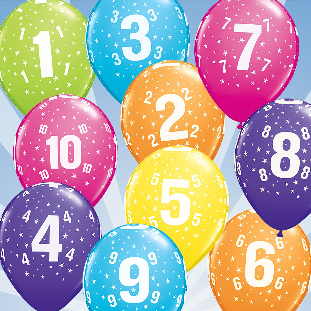 """11"""" BALLOONS WITH NUMBERS - 25 pcs."""