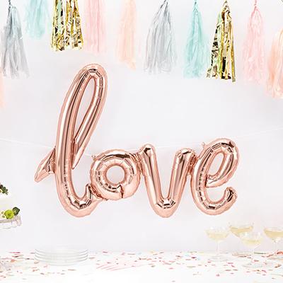 ROSEGOLD LOVE SCRIPT BALLOON