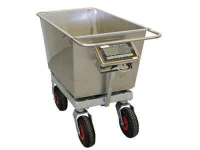 Vægtvogn 200 ltr. elektronisk gummihjul