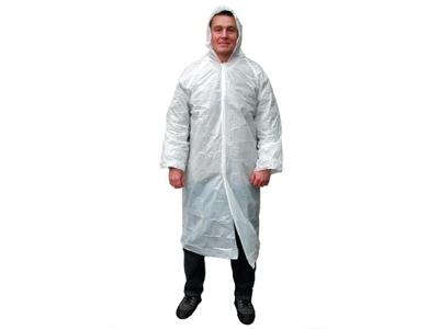 Plastic coat with hood white 10 pcs.
