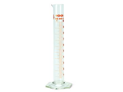 Målecylinder i glas med hældetud 1 ltr.