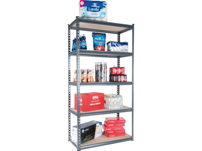 Shelf system in steel with 5 shelves