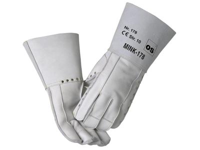 Mink glove (V178) with rivets. Left hand.