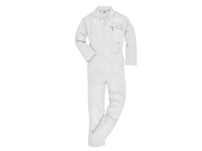 Stable coveralls white with push buttons