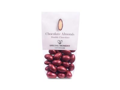 Drageret mandler m/mørk og hvid chokolade bordeaux 125 gr