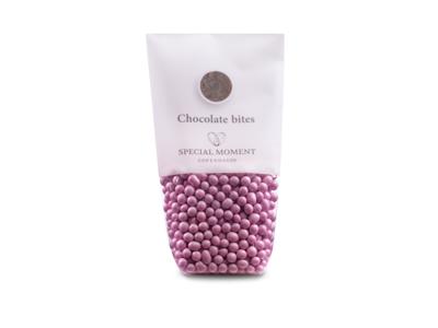 Drageret chokolade minikugler pink 130 gr - Bestillingsvare