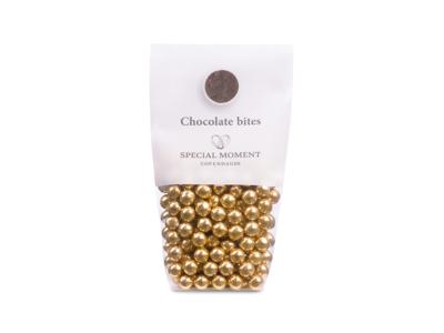 Drageret hvedekugler m/lys chokolade og guld 130 gr - Bestillingsvare